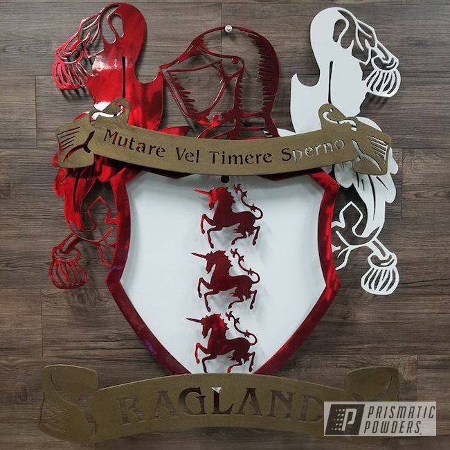 Powder Coating: Polar White PSS-5053,Lollypop Red UPS-1506,Splatter Brass PWB-6638,Custom Sign,Custom Coat Of Arms,Metal Sign