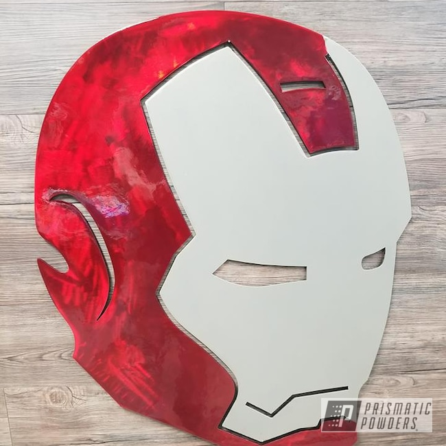 Powder Coating: Metal Art,Golden Champagne PTB-5604,Comic Book Theme,Art,Iron Man,Lollypop Red UPS-1506