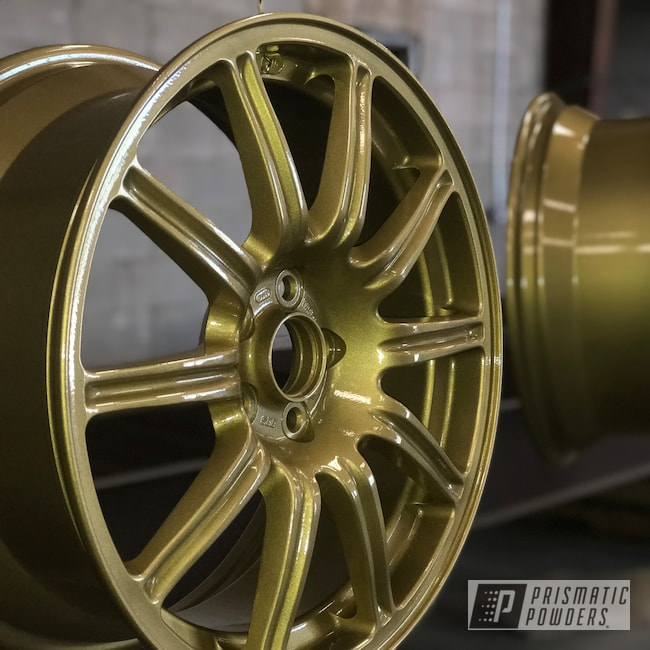 Powder Coating: Wheels,Automotive,BBS Wheels,Epoxy,BBS,Spanish Gold EMS-0940