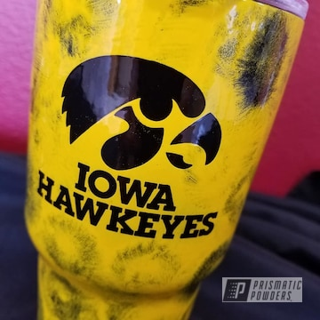 Powder Coated Tumbler Drinkware In Yellow And Black
