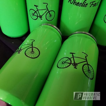Powder Coated Drinkware In Green And Black