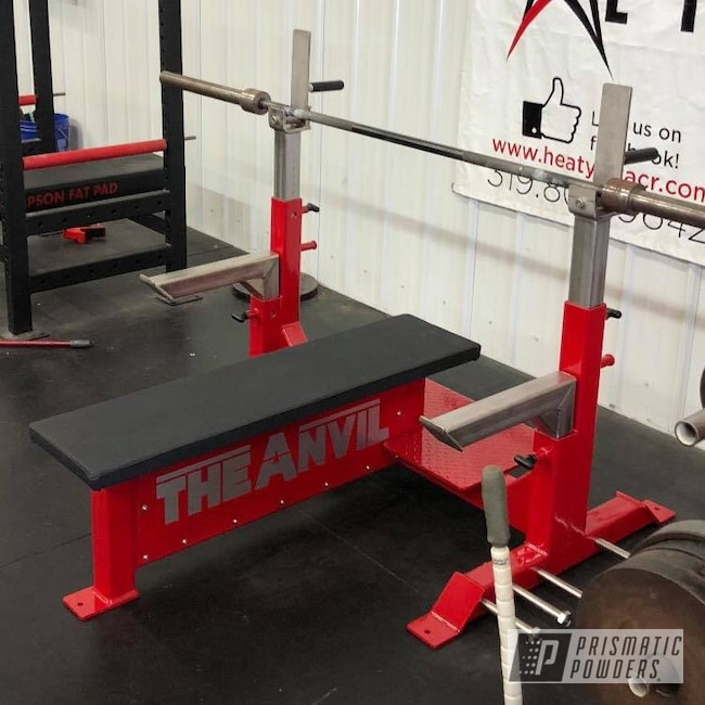Powder Coating: Gym Equipment,Weight Bench,RAL 3002 Carmine Red,Miscellaneous