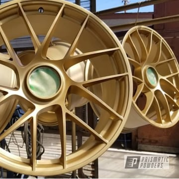 Powder Coated Porsche Gt3 Wheels In Satin Poly Gold