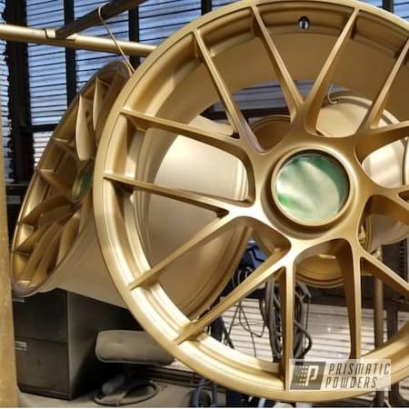 Powder Coating: Wheels,Automotive,GT3,Powdercoat,APEX CUSTOMS,Porsche,Satin Poly Gold PMB-6487