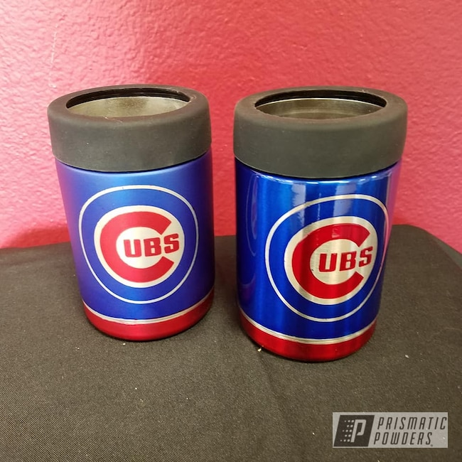 Powder Coating: Cheater Blue PPB-6815,Baseball,LOLLYPOP RED UPS-1506,Drinkware,Chicago Cubs,Casper Clear PPS-4005,Can Koozie,Baseball Theme,MLB Baseball Theme