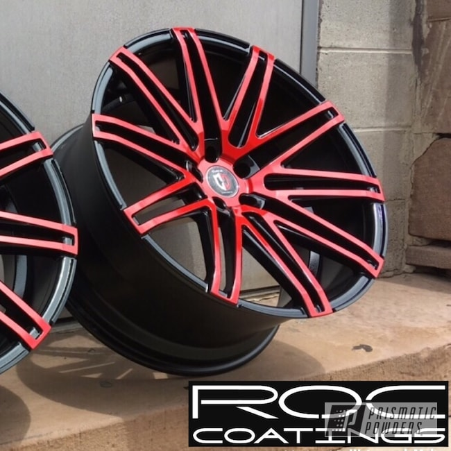 Powder Coating: Racer Red PSS-5649,Wheels,Automotive,Custom Rims,Clear Vision PPS-2974,Custom Wheels,Rims,Ink Black PSS-0106