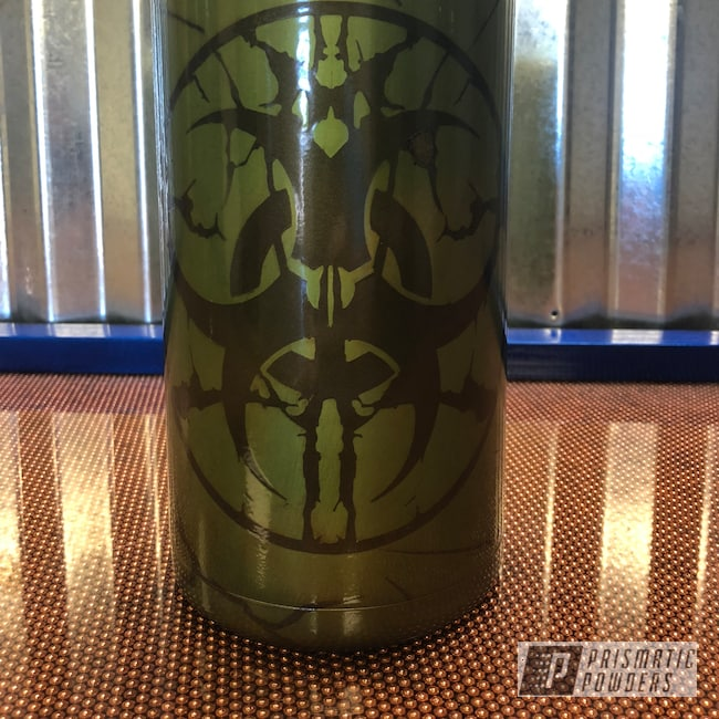 Powder Coating: Glow in the Dark Top Coat,Tumbler,Transparent Copper PPS-5162,BLACK JACK USS-1522,Bio-hazard,Glow in the Dark,Custom Cup,YETI,Golden Apple II PPB-4705,64oz,Glowbee Clear PPB-4617