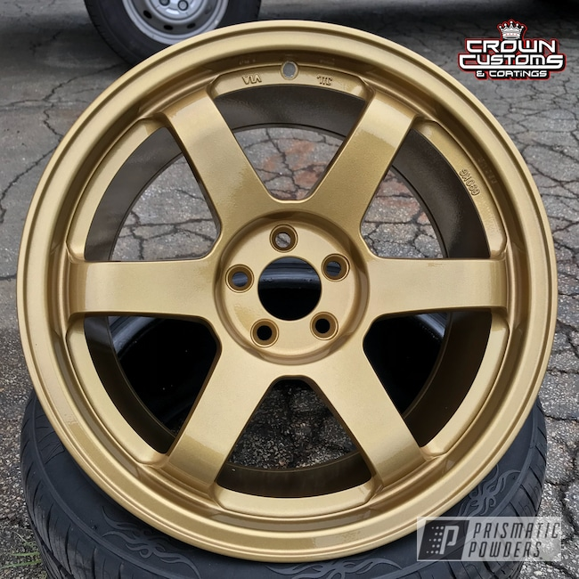 Powder Coating: Wheels,Auto Parts,Automotive,Clear Vision PPS-2974,Spanish Gold EMS-0940