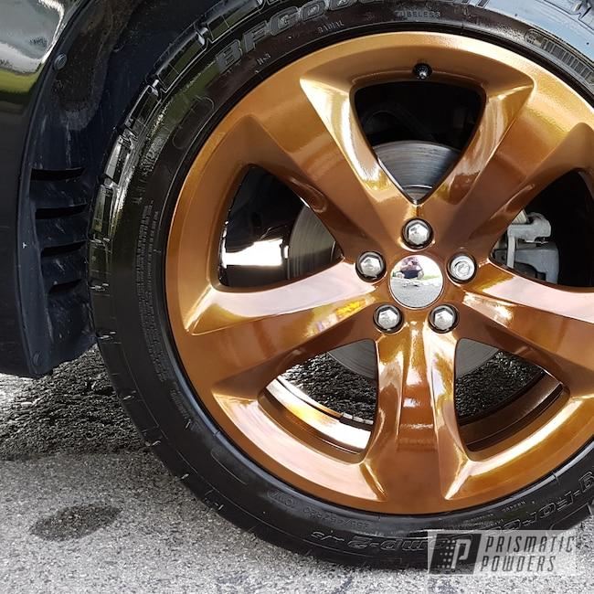 Powder Coating: Wheels,Automotive,SUPER CHROME USS-4482,Two Stage Application,Monaco Copper PPB-4520
