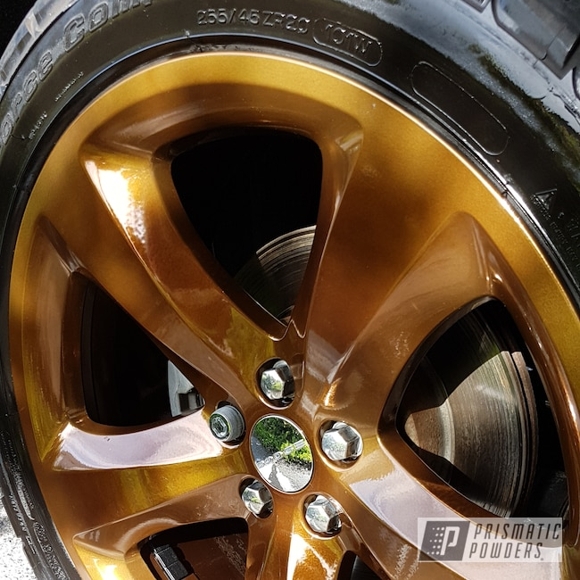 Powder Coating: Wheels,Automotive,SUPER CHROME USS-4482,Two Stage Application,Monaco Copper PPB-4520