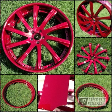 Powder Coated 24 Inch Wheels In A Red Cherry Color