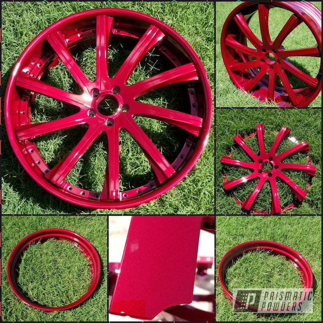 Powder Coating: Wheels,Custom,Automotive,Clear Vision PPS-2974,Rims,24inch,Illusion Cherry PMB-6905