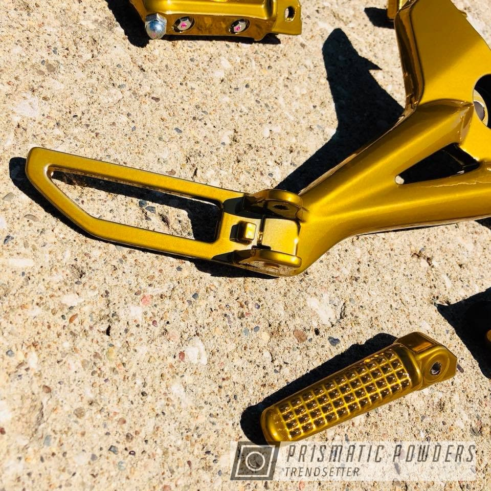 Powder Coating: Custom,SUPER CHROME USS-4482,Two Stage Application,Motorcycle Parts,Rear Sets,Honda,GROM,Brassy Gold PPS-6530,Motorcycles,gold