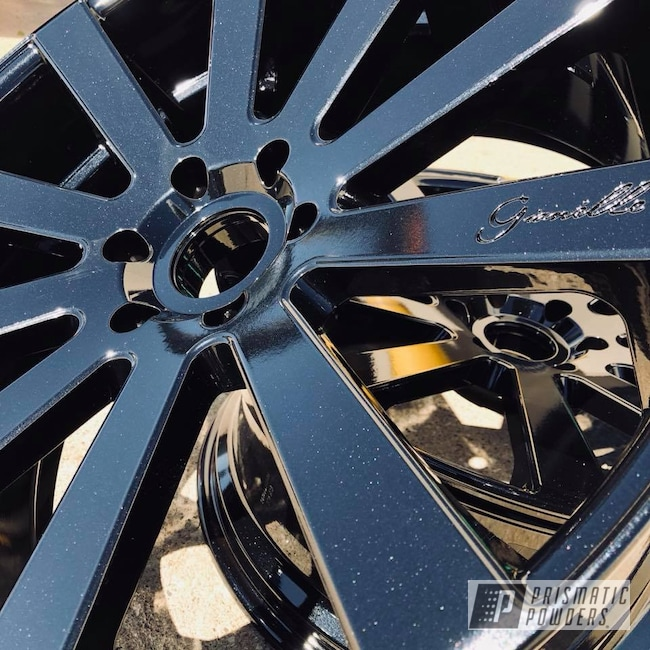 Powder Coating: Wheels,Automotive,Gianelle,Wheel,Black,Pearl Black PMB-5347,Metallic Powder Coating,Giovanna