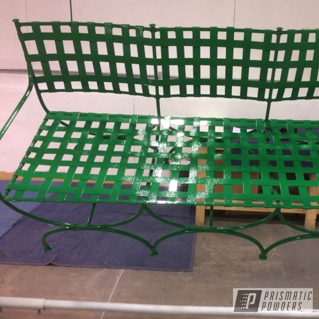 Vintage Patio Bench In Ral 6029 A Classic Mint Green Color Prismatic Powders