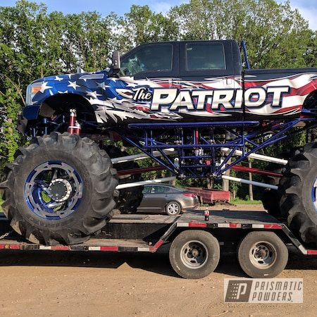 Powder Coating: Custom,Automotive,Monster Truck,SUPER CHROME USS-4482,Lifted,LOLLYPOP BLUE UPS-2502,Ford,Rancher Blue PPB-6317,F-350