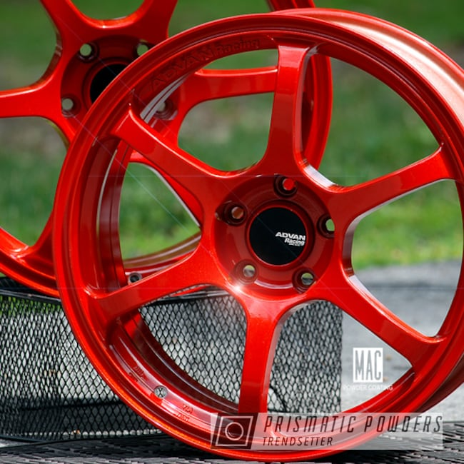 Powder Coated Red Advan Racing Wheels
