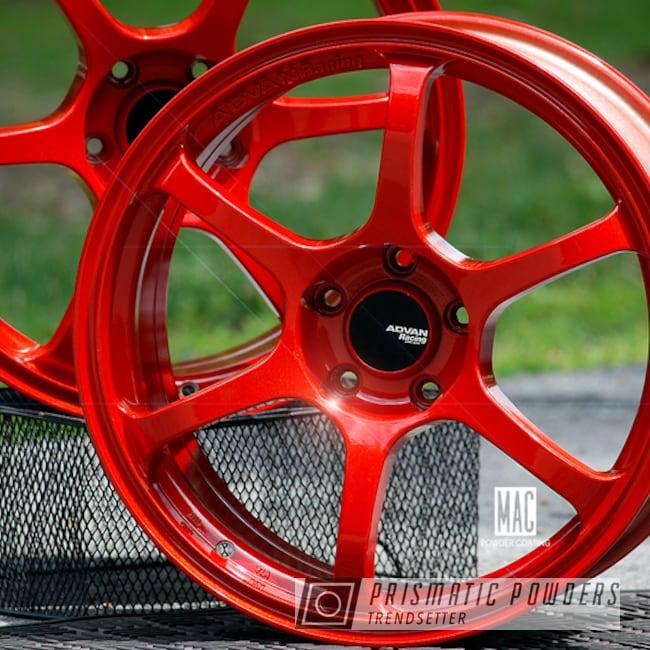 Powder Coating: Wheels,Automotive,Clear Vision PPS-2974,Rims,Illusion Red PMS-4515,Advan Racing,Advan Racing Wheels,ADVAN