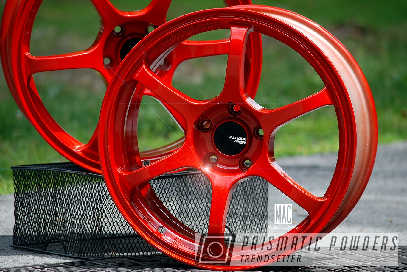 Powder Coating: Wheels,Automotive,Clear Vision PPS-2974,Rims,Illusion Red PMS-4515,Advan Racing,Advan Racing Wheels,ADVAN