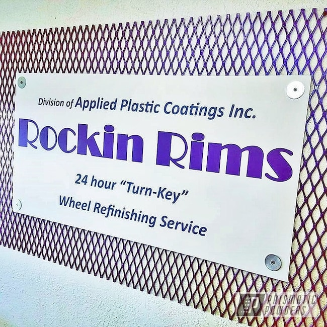 Powder Coating: rockin rims,Chameleon Violet Sapphire PPB-5730,Chameleon Violet PPB-5731,Applied Plastic Coatings,Expanded Metal Sign,Custom Sign,Metal Sign