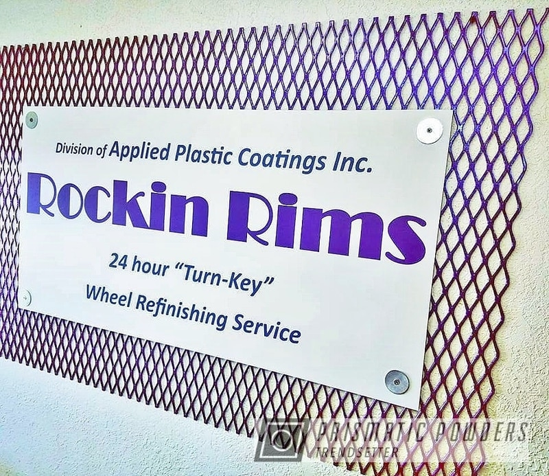Powder Coating: rockin rims,Chameleon Violet Sapphire PPB-5730,Chameleon Violet PPB-5731,Applied Plastic Coatings,Expanded Metal Sign,Custom Sign,Metal Sign