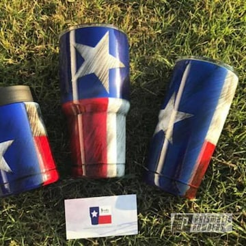 Powder Coated Cups Coated In A Texas Flag Theme