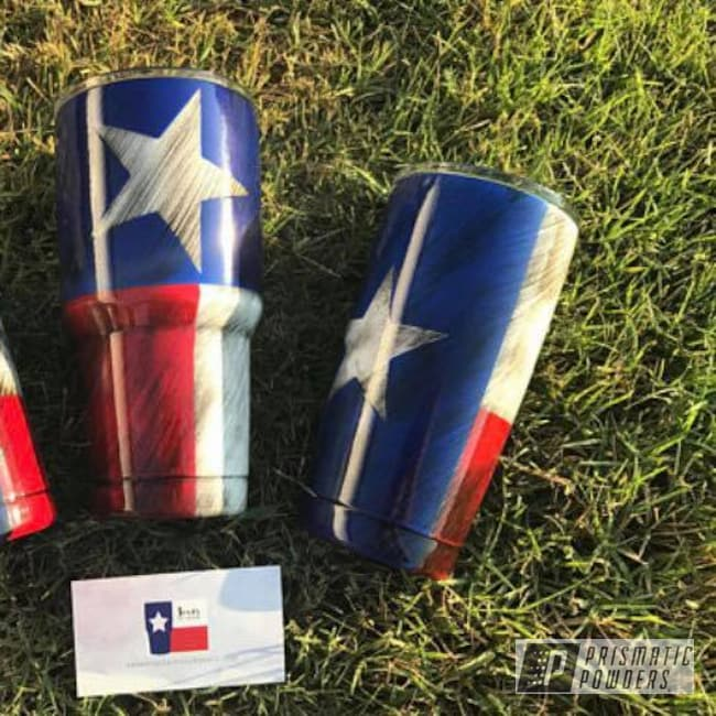 Powder Coating: Texas,Custom Cups,Clear Vision PPS-2974,Really Red PSS-4416,Ink Black PSS-0106,Texas Flag,Polar White PSS-5053,Custom Cup,Bristol Blue PMB-4848,Texan