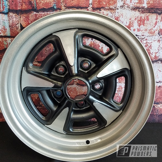 Powder Coating: Wheels,Automotive,STERLING BLACK UMB-1204,Heavy Silver PMS-0517,Custom Wheels,Pontiac,Steel Rims