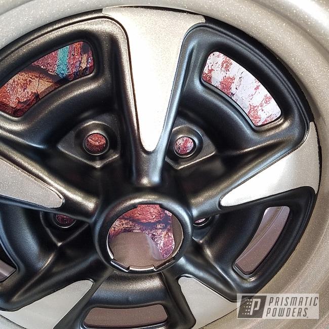 Powder Coating: Wheels,Automotive,STERLING BLACK UMB-1204,Heavy Silver PMS-0517,Custom Wheels,Pontiac,Steel Rims
