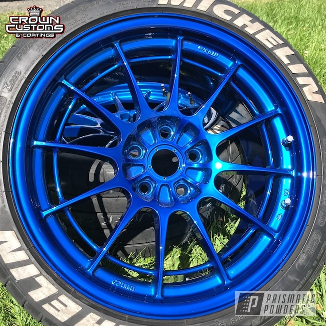 Enkei Nt03m Wheels Refinished In Super Chrome Base With Peek Blue Top Coat