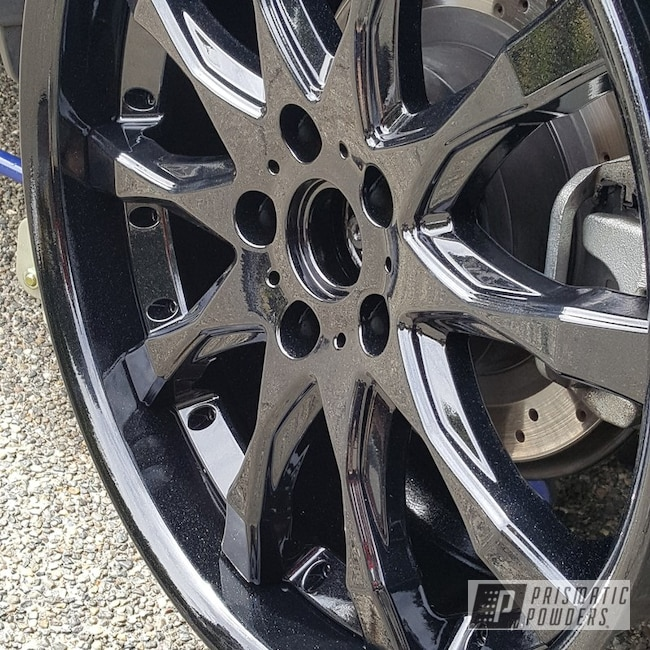 Powder Coating: Wheels,Automotive,Pearl Black PMB-5347,Metallic Powder Coating,Work