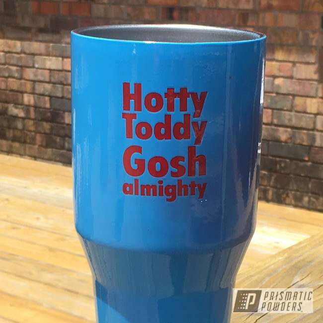 Powder Coating: Tumbler,Really Red PSS-4416,Ole Miss,Powder Blue PSS-4009,40 oz,Custom Cup