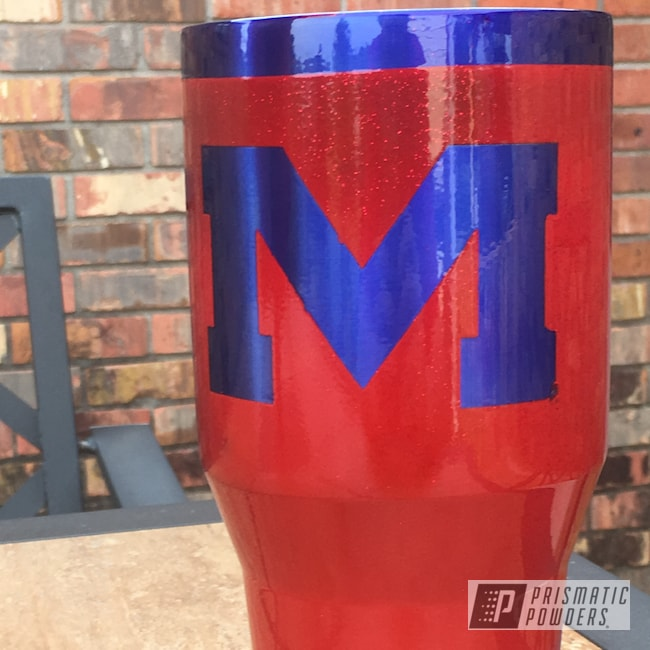 Powder Coating: Tumbler,Really Red PSS-4416,LOLLYPOP BLUE UPS-2502,40oz,Custom Cup,Ole Miss Rebels