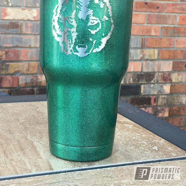 Powder Coating: Clear Vision PPS-2974,Tumbler,30oz,Custom Cup,Ultra Illusion Green PMB-5346,Ozark Trail,Wolf