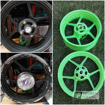 Powder Coated Wheels In Energy Green