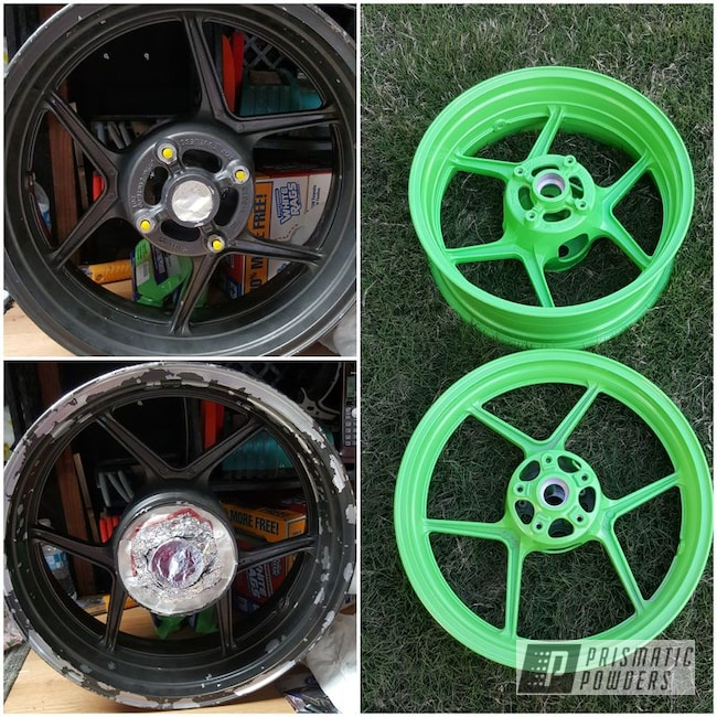Powder Coating: Wheels,Motorcycle Rims,Energy Green PSB-6669,Motorcycles