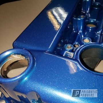 Powder Coated Engine Cover In A Sparkling Blue Color