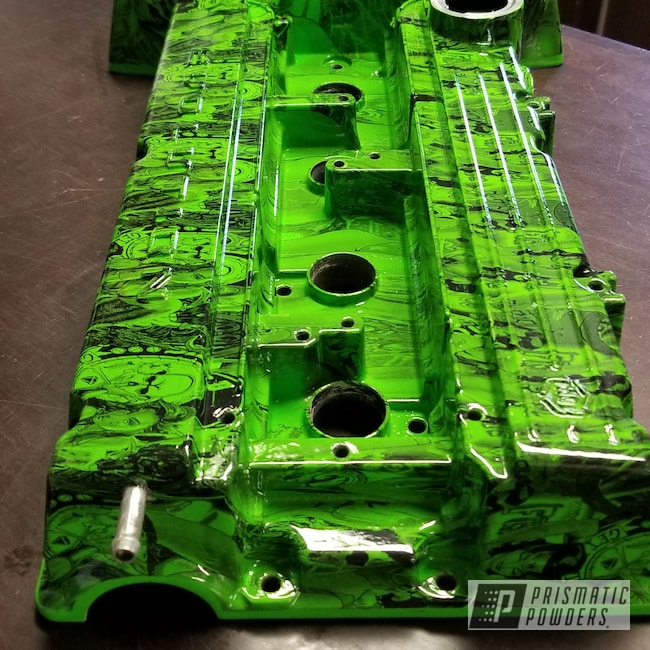 Powder Coating: Automotive,Clear Vision PPS-2974,Kiwi Green PSS-5666,Valve Cover