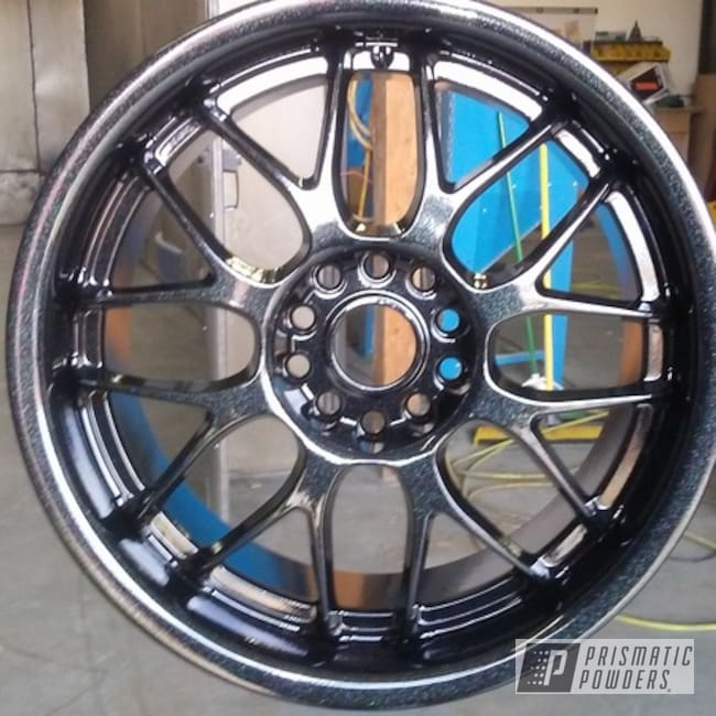 Powder Coating: Custom,Automotive,Custom Wheels,Chevrolet,Ink Black PSS-0106,CANBY GREEN/RED UPB-6012