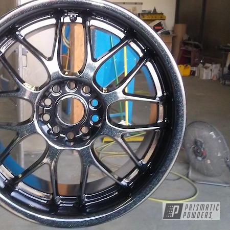 Powder Coating: Custom,Automotive,Custom Wheels,Chevrolet,Ink Black PSS-0106,CANBY GREEN/RED UPB-6012