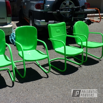 Powder Coated Patio Furniture In Neon Green And Casper Clear