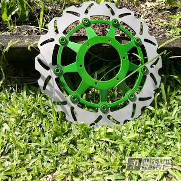 Powder Coated Motorcycle Rotor In Psycho Lime