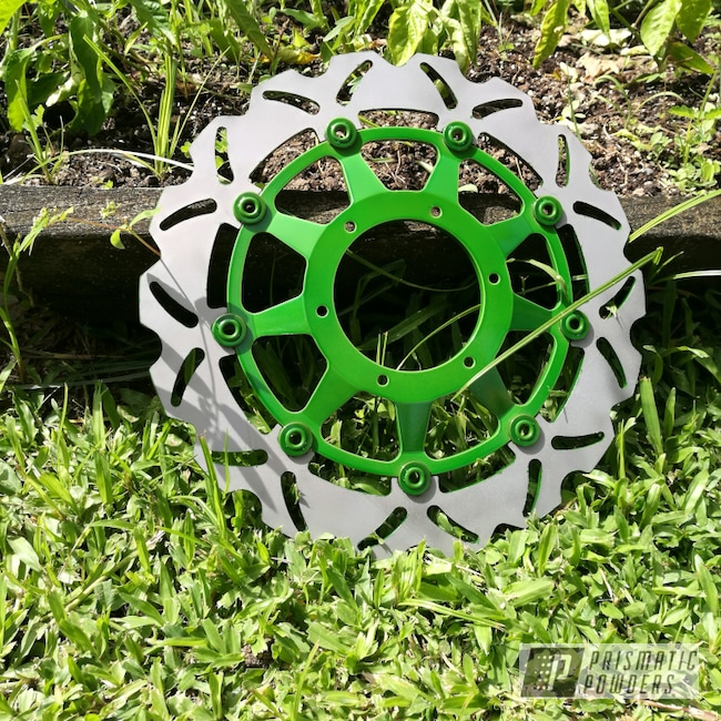 Powder Coating: Rotor,Psycho Lime PPB-2448,Motorcycles