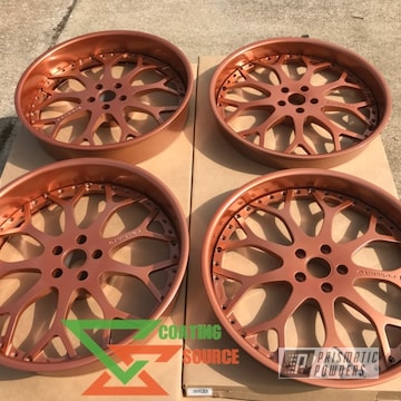 Powder Coated Forgiato Wheels In Penny Gold