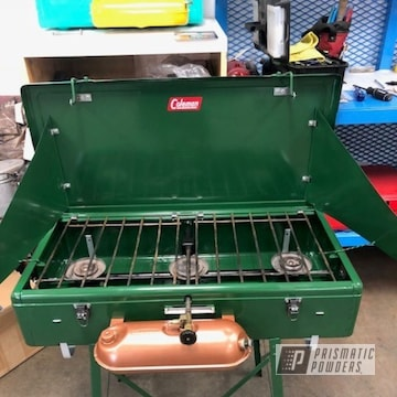 Restored Coleman Camp Stove In Redwood Green And Fireside Copper