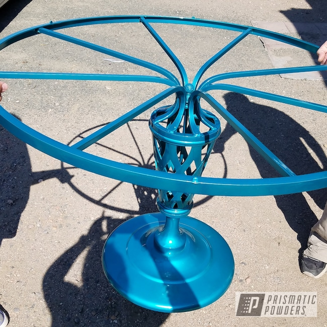 Powder Coating: SUPER CHROME USS-4482,Table,Applied Plastic Coatings,NEW TEAL UPB-2858,Table Base,Furniture
