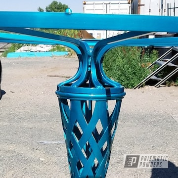 Powder Coated Table Base In New Teal And Super Chrome