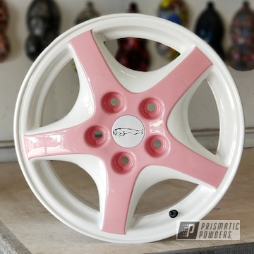 Custom Wheels Powder Coated In Gloss White, Pretty Pink And Glitter Dust 4