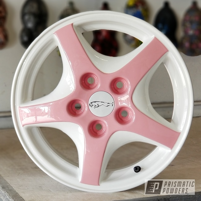 Powder Coating: Automotive,Custom Wheels,Pretty Pink PSS-4479,Gloss White PSS-5690,Glitter Dust 4 PPB-5706,Two Toned