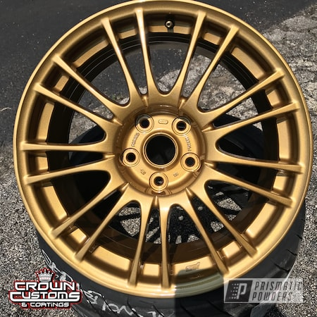 Powder Coating: Wheels,Automotive,Clear Vision PPS-2974,STI,Subaru STI Wheels,Spanish Gold EMS-0940